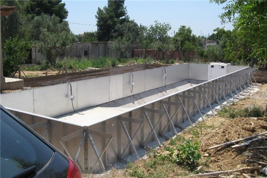 Prefabricated pools overflow skimmer with steel panels for Concrete pool construction